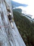 Nick on the 10b traverse to the base of the Split Pillar .jpg