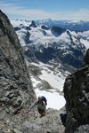 """Chris coming up to the belay at the top of """"Pitch 3"""""""