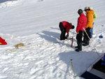 Crevasse rescue practice on icemantle glacier