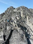 Scrambling along ridge to Linus