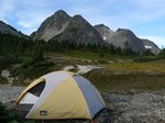 Our tent and Coquihalla Mtn. (it has many peaks)