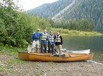 Getting ready to cross Oshinow Lake by canoe