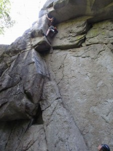"""Steph below the blocky crux on """"Orphan"""", 5.8"""