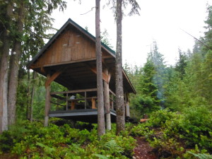 Rainy Day Lake Hut at km 169 of the Sunshine Coast Trail