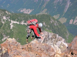 Climbing onto the summit.