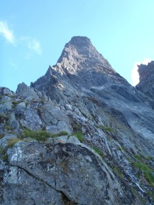 Looking up at the rest of the route from the bivy ledge.
