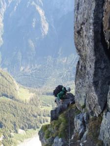 Veronika climbing onto a nice belay ledge the next morning.