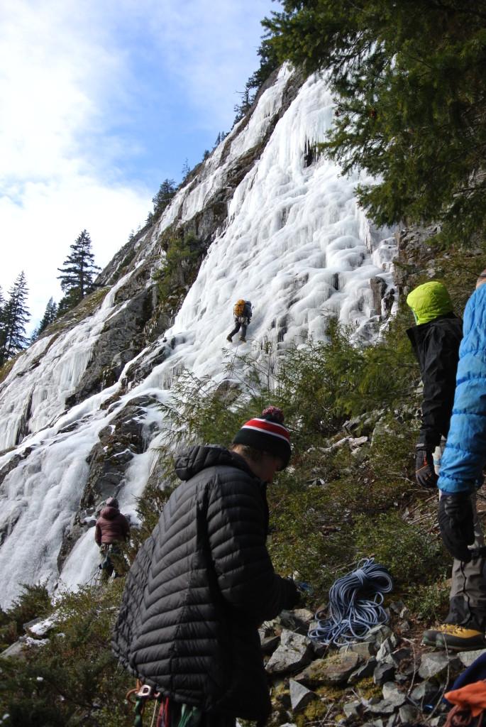The climb: Entropy, WI3, 120m