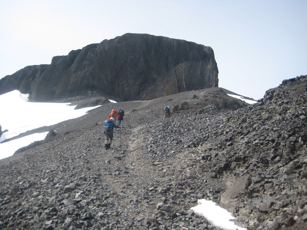 Traveling the scree towards the Black Tusk. (Crystal To)