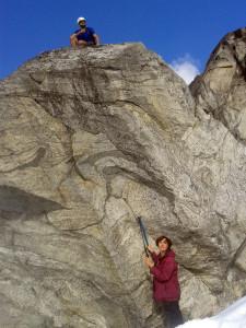 Clemens samples the bouldering, Ailsa samples the boulder.