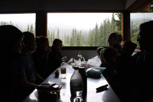 Lunch in the cabin at the base of Taylor Meadows
