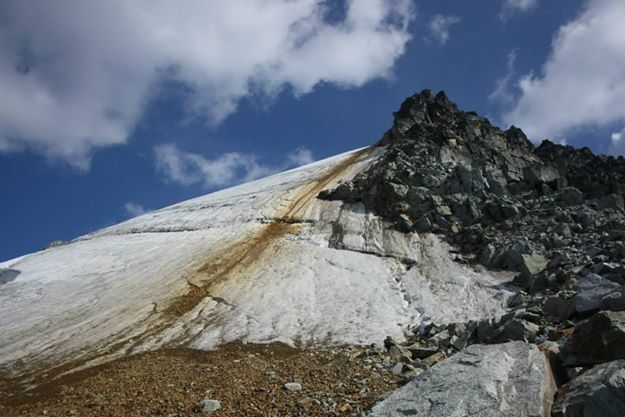 Slalok Mountain, with ice slope route on left, rock smear in middle, and scramble to right.