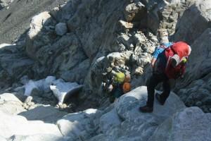 Photo Credit: Cam Bathgate. Scrambling up towards Stonecrop Glacier.