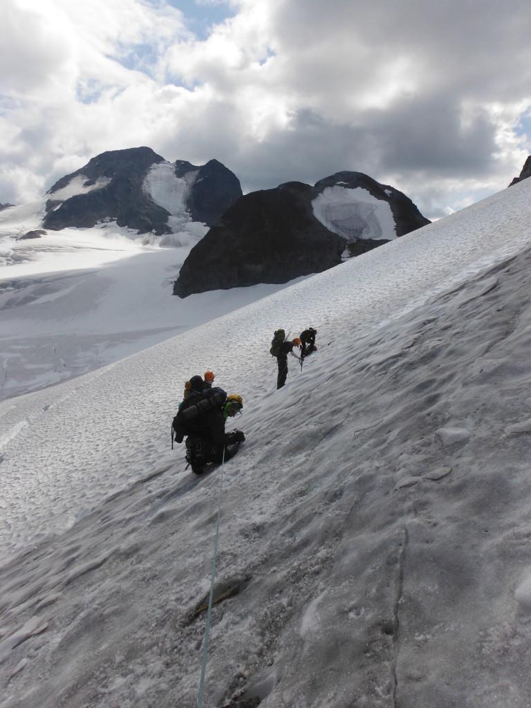 Getting onto Matier Glacier