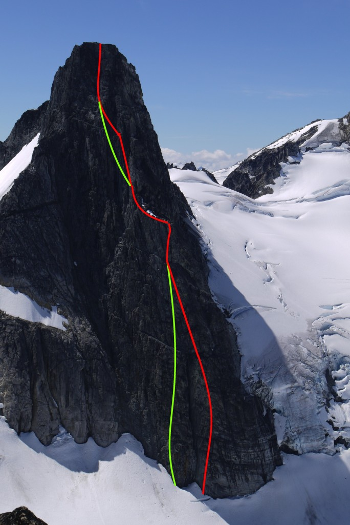 Our approximate routes up Wahoo Tower.  Green - Articling Blues Buttress, 5.10a TD.  Red - Blues Buttress Direct, 5.10a TD+.  The upper deviation of the red route is run out and scary, not recommended.