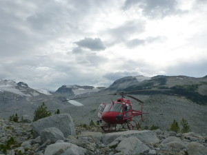Our Helicopter, finally on the ground near Harrison. Photo: Caitlin Schneider