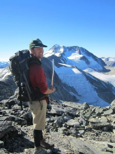 Keith Lennig pointing out the summit of Wedgemount - PHOTO: Thea Rodgers