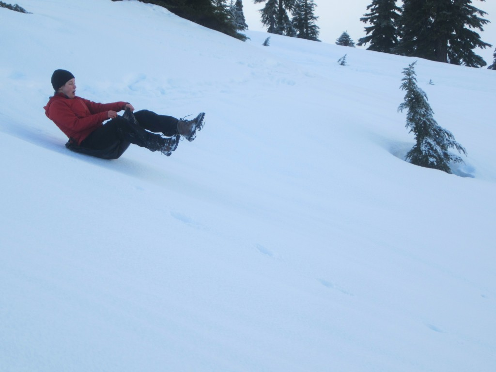 A sunny morning provided the opportunity for some garbage-bag tobogganing!