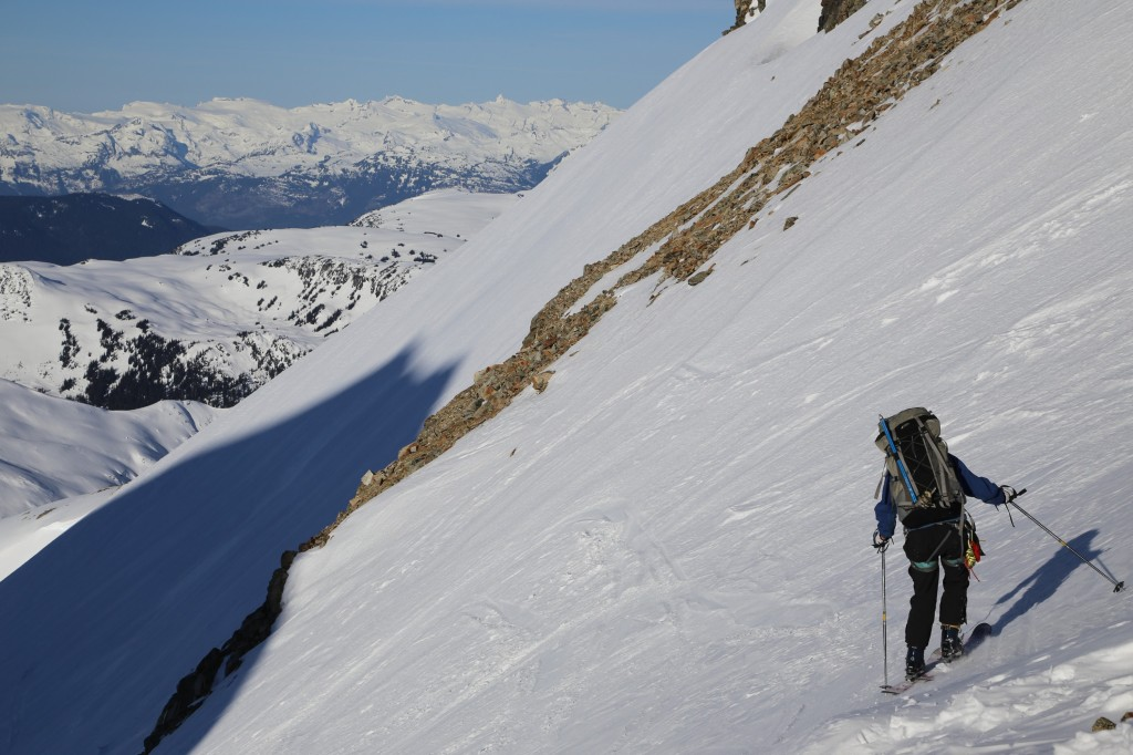 Casandra dropping into the MacBeth Glacier (P: Tobias)