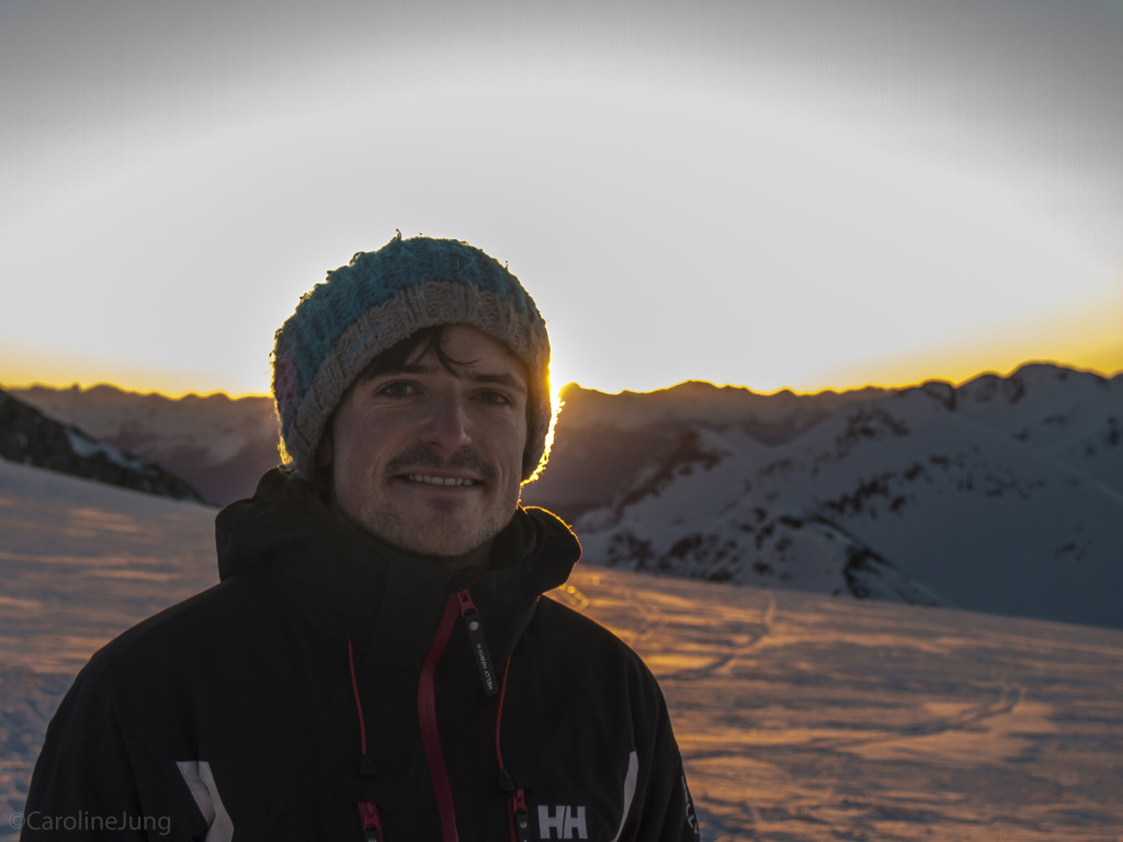 Mike on the Naden at sunrise (P: Caroline)