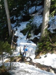 Benoit hiking on snow!
