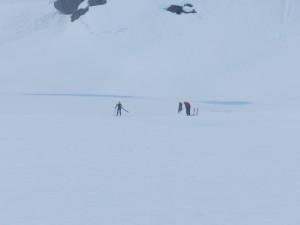 Catching the runaway ski
