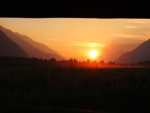 Smoke from the Boulder Creek Fire gives a fiery touch to the sunset in Pemberton Meadows