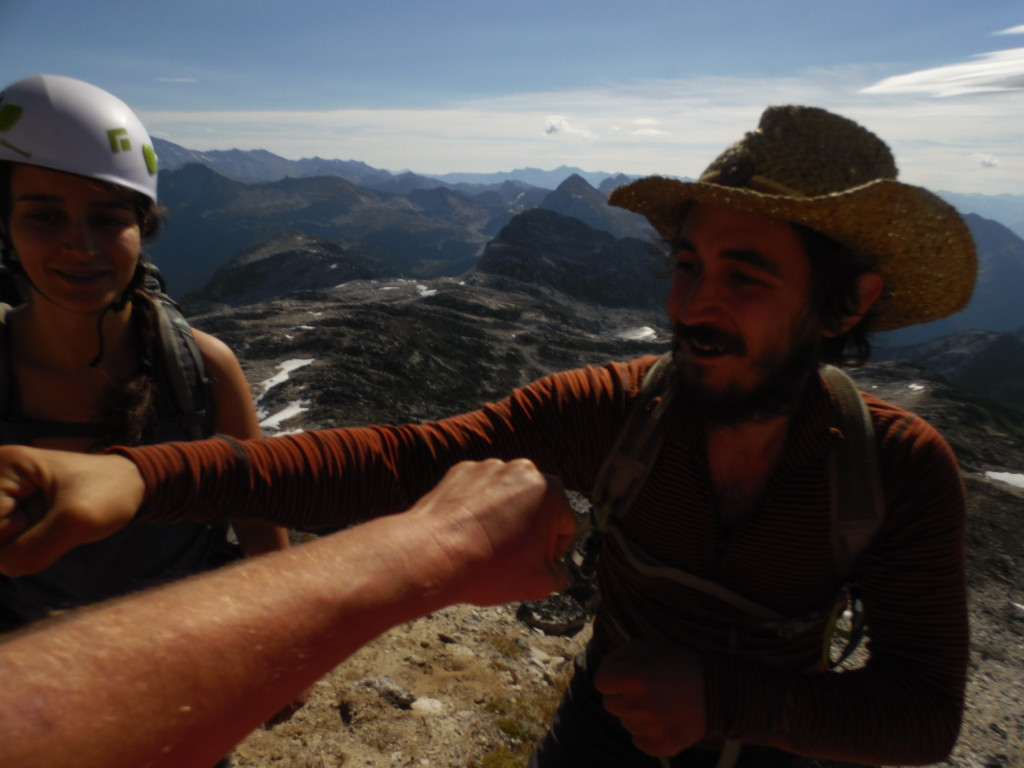 "Well deserved Summit Fist Pound after reaching to top of Aragon via the ""Direct East Ridge"""