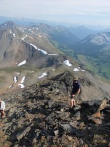 Easy scrambling up the summit ridge of Mt. McGillivray