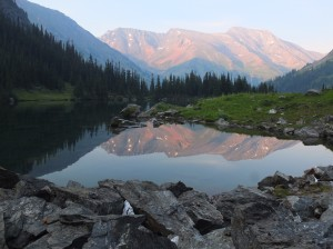 Tomorrow's objective: Whitecap mountain from our lakeside campsite