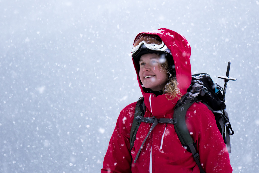 Runner up: Katie Cullen ecstatic for the first fresh snow to fall in days. Photo by Nathan Starzynski