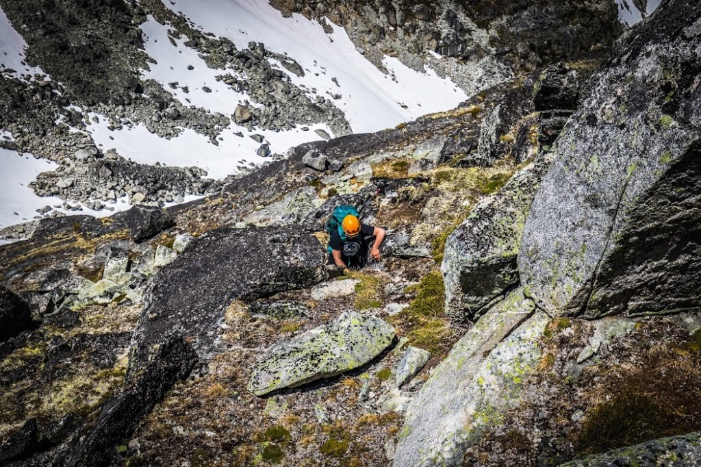 Rebecca climbing up to Tszil, photo by Steve Cabral
