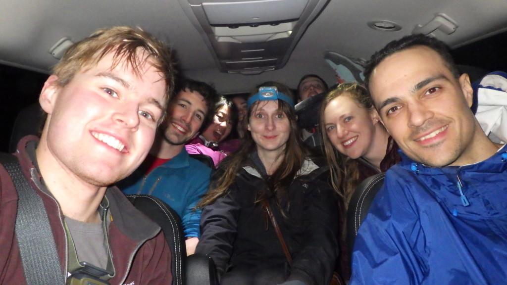 Jamming lots of people into a van.