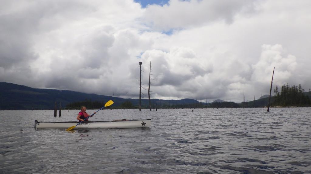 Paddling through Lois Lake, Roseanna in canoe. Photo by Cora.