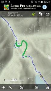 Map altered from Rich So's blog post. The green marks the trail we cleared or widened beyond the one-log bridge