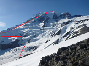 The general idea of our route up Rainier, seen from the bottom of the trail.
