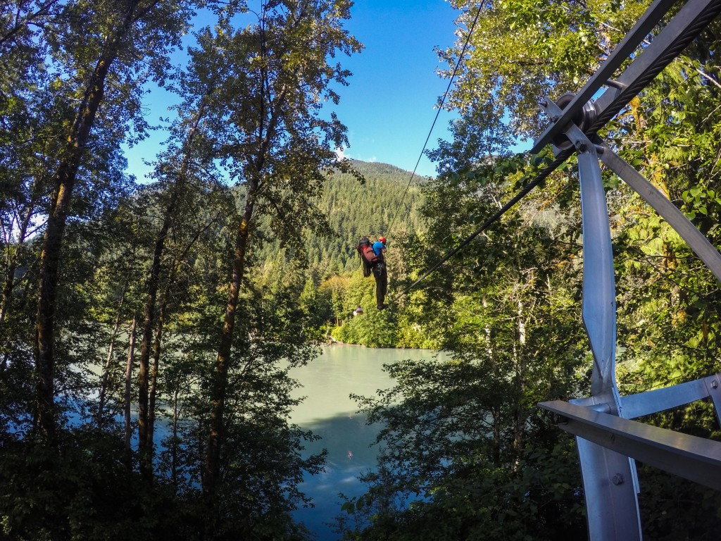 Kevin looking good crossing the Squamish River. Photo: Matteo Agnoloni