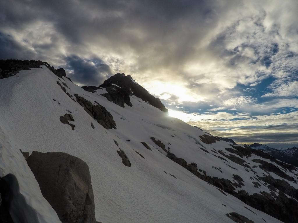 The east ridge of Alpha as the sun sets. Photo: Matteo Agnoloni