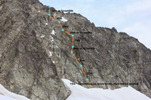 West face bolted descent route. Photo: Altus Mountain Guides