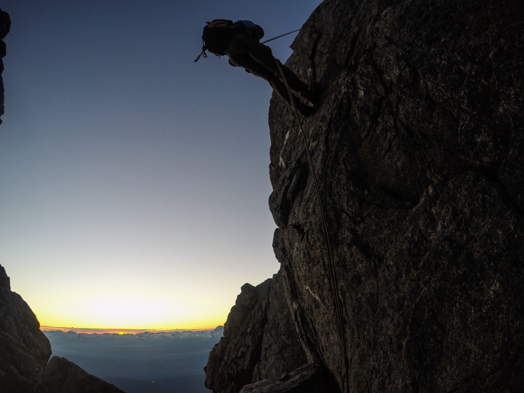 Kevin rappelling a notch in the ridge leading to Dione and Tantalus. Photo: Matteo Agnoloni