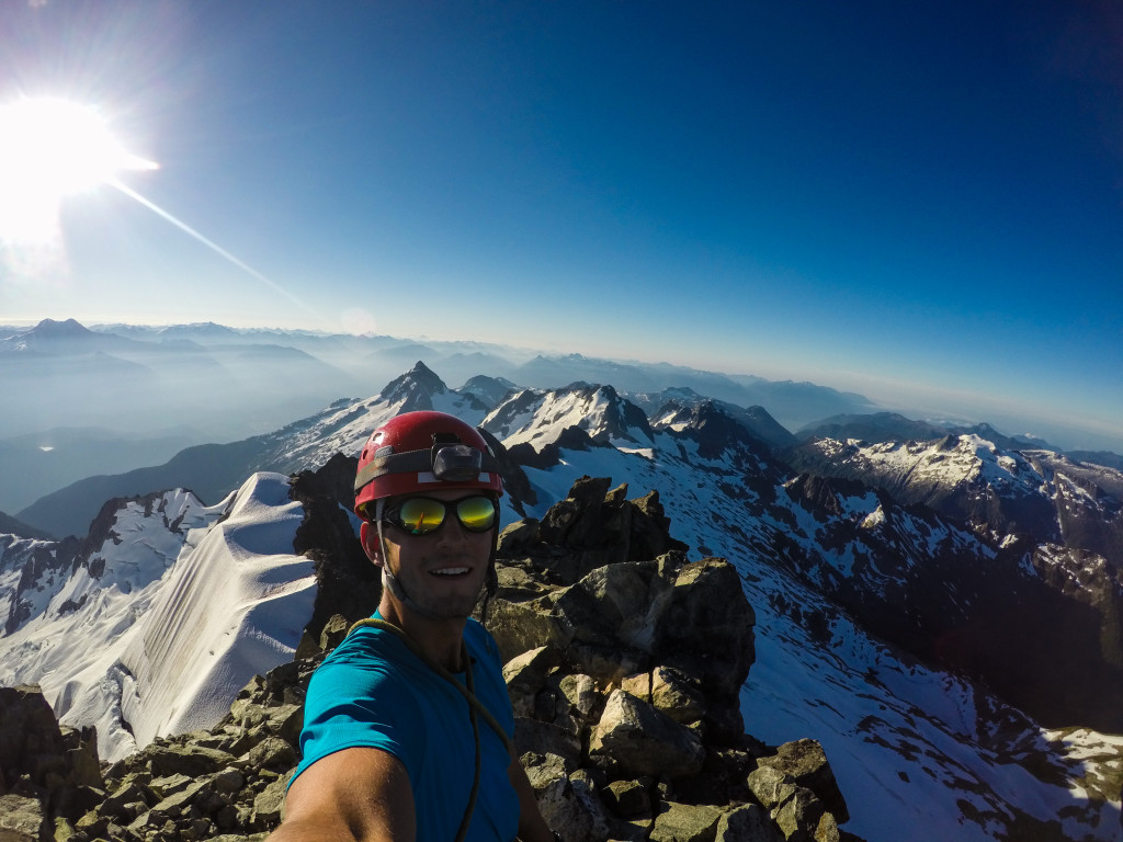 Summit selfie on top of Dione. Photo: Matteo Agnoloni