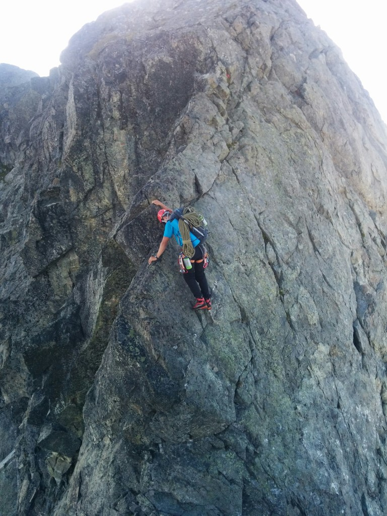 Matteo wishing he was on belay while climbing this airy arete. Photo: Kevin Burton