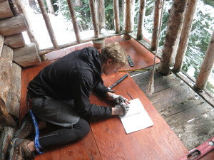 George making porch measurements. Photo: Alberto