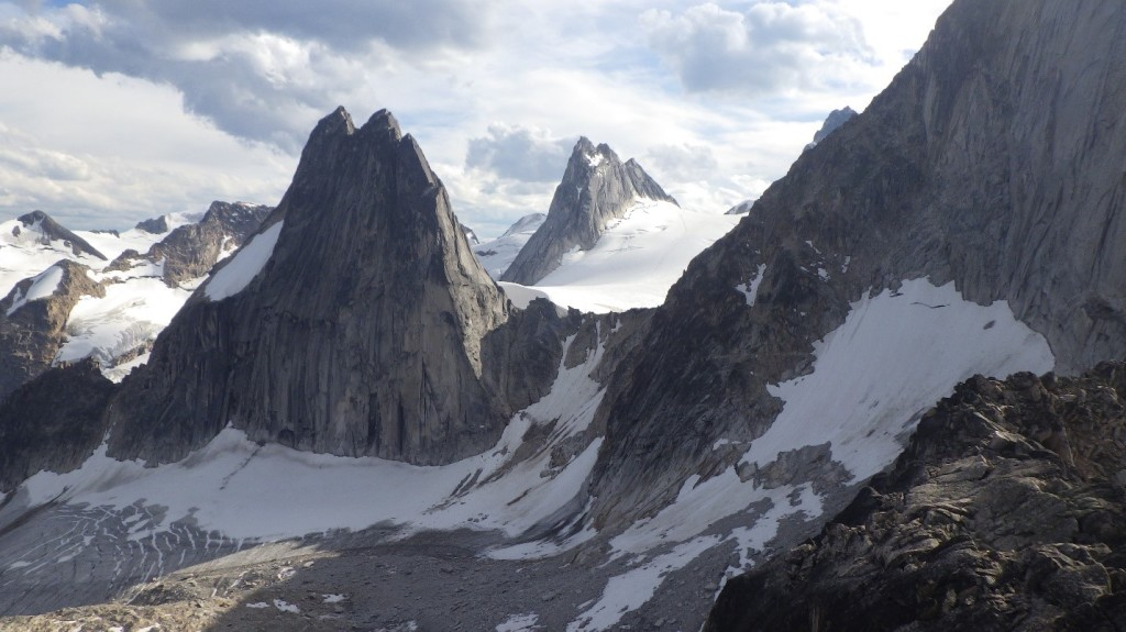Snowpatch Spire, Pigeon Spire and little bit of Bugaboo Spire, from left to right. Photo by: Cora Skaien.