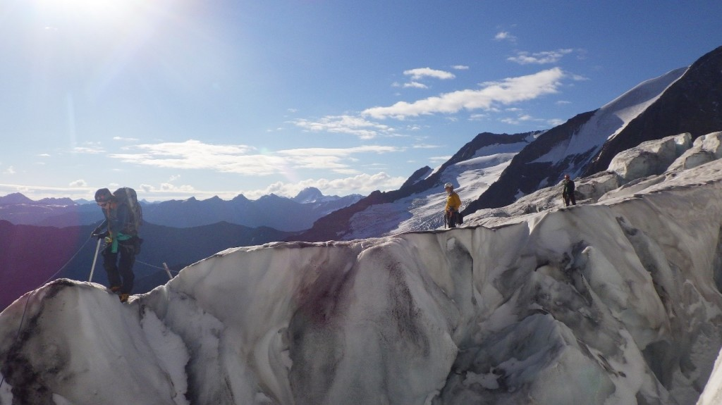 Navigating the descent into the crevasse. Photo by: Cora Skaien.