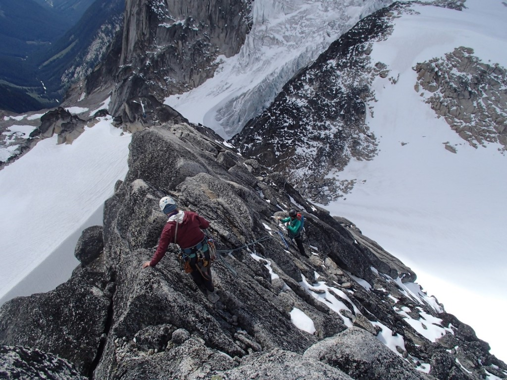 Cora down-climbing back to Natalie. Photo by: Artem Babian/Jeff Taylor.