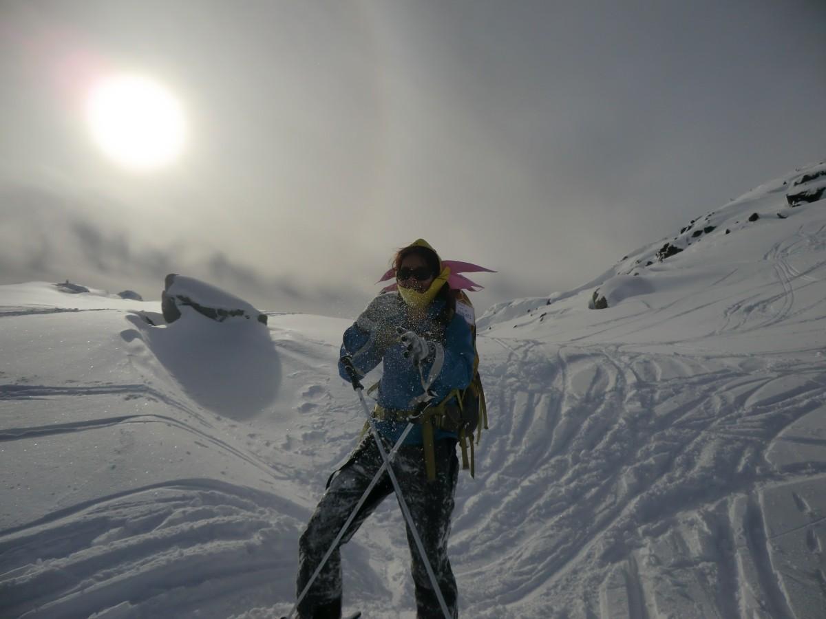 Lia enjoying her skiing covered in the white stuff