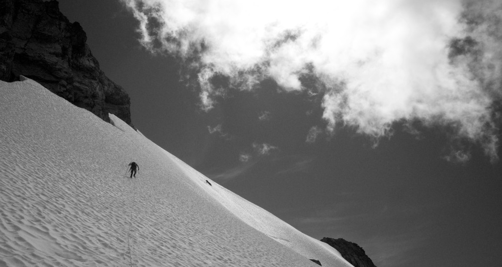 Spencer leading up west face of Mt Alfred (Photo: S. Higgs)