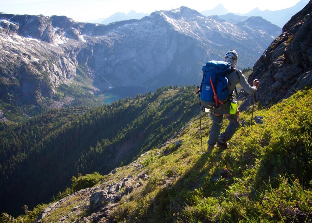 Spencer descending towards Tea Pass below Mt Alfred (Photo: S. Higgs)