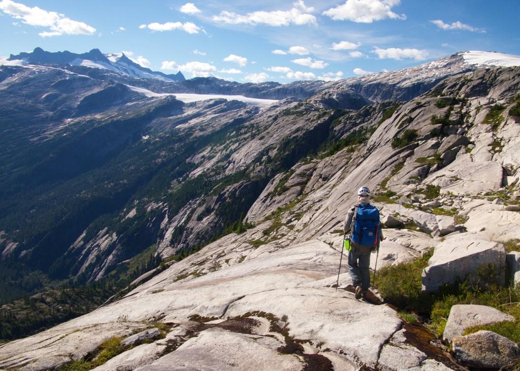 Spencer following granite ridge lines above Princess Louisa Inlet (Photo: S. Higgs)